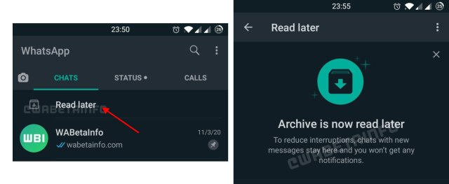 Whatsapp Read Later feature Improvment of archive chat
