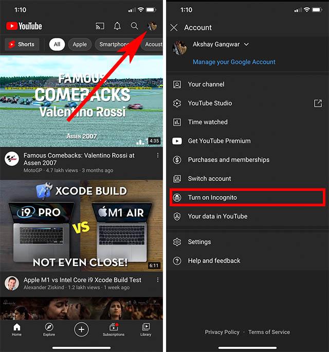 приложение для режима инкогнито на YouTube