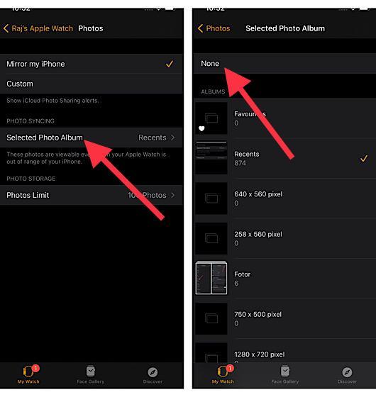 Deshabilitar la sincronización de fotos en Apple Watch