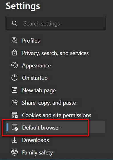 Configuración de borde para el navegador predeterminado