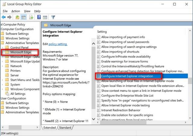 Habilitar el modo IE en Microsoft Edge Chromium