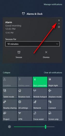отклонить уведомления из центра уведомлений Windows 10