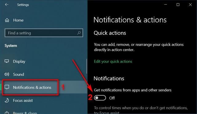 изменить настройки уведомлений Отключить уведомления в Windows 10