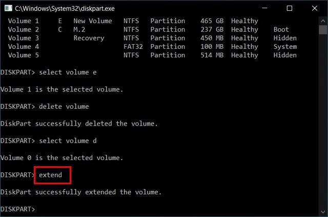 Fusionar varias particiones del disco duro con Diskpart