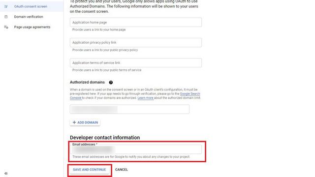 добавить контактную информацию разработчика