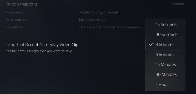 ajustar la duración de la grabación del juego