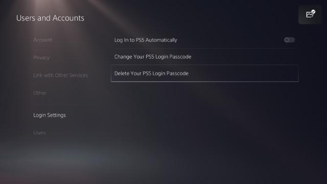 удалить пароль для входа в ps5