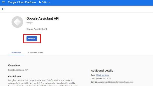 включить API Google Ассистента