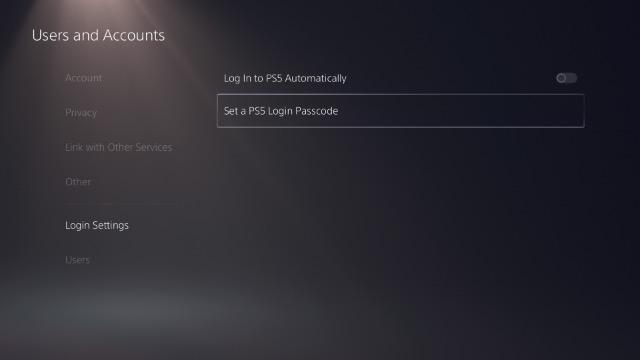 установить пароль входа в систему ps5
