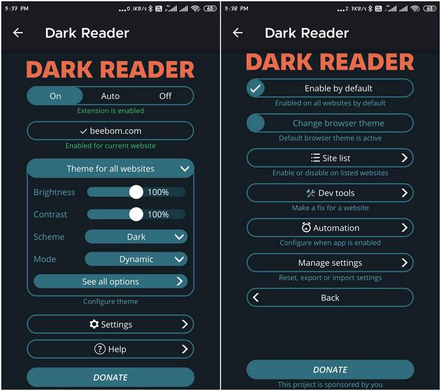 Лучшее дополнение к Firefox для Android Dark reader