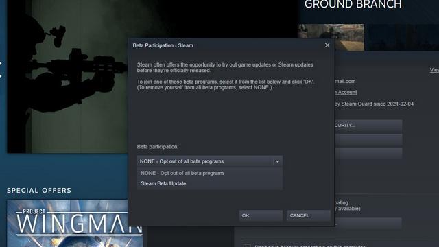 зарегистрироваться в бета-тестировании Steam