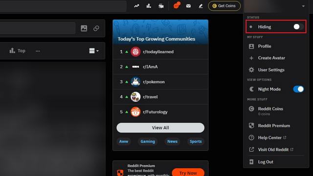 скрыть статус онлайн на сайте Reddit