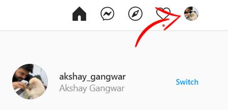 Instagram нажмите значок профиля