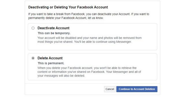 desactivar o eliminar fb