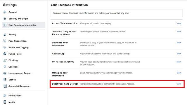 eliminar y desactivar cuenta de facebook
