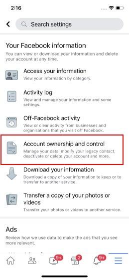 eliminar cuenta de facebook en iPhone