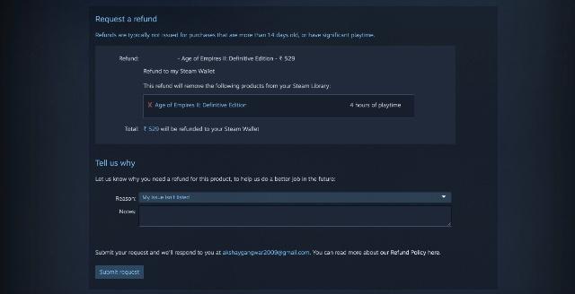 reembolsar un juego en Steam paso 4