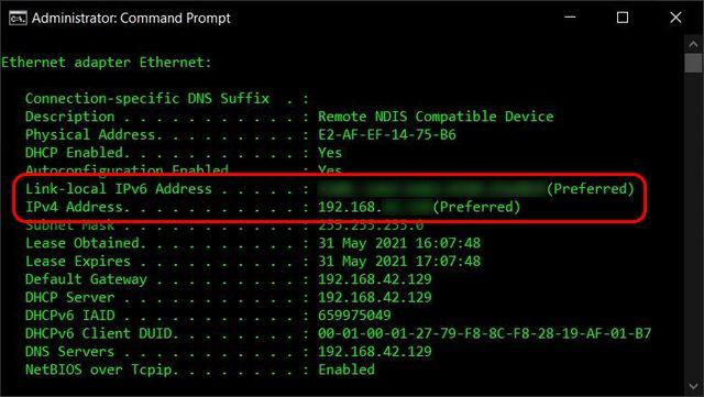 Encuentre su dirección IP en el símbolo del sistema de Windows