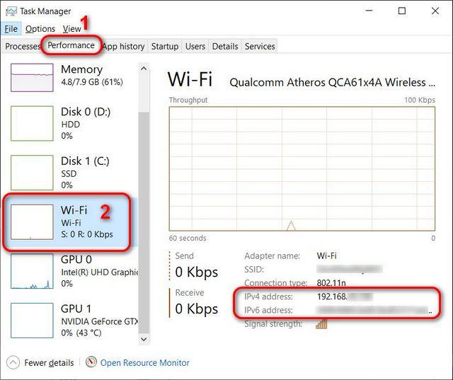 Encuentre su dirección IP en el Administrador de tareas de Windows