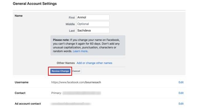 cambiar el nombre de facebook web 2