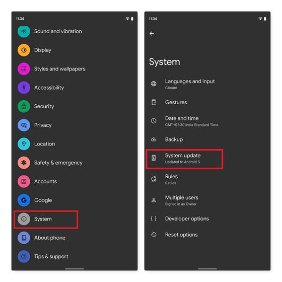 buscar actualizaciones de Android