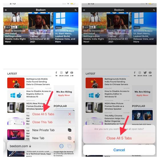 Cerrar todas las pestañas: cómo usar grupos de pestañas en Safari en iOS 15