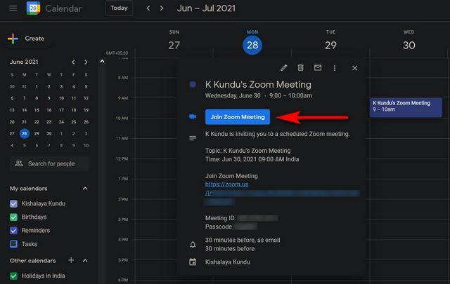 Enviar invitación a la reunión de Zoom mediante el cuerpo de Google Calendar