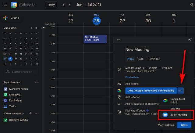 Enviar una invitación a la reunión de Zoom con Google Calendar