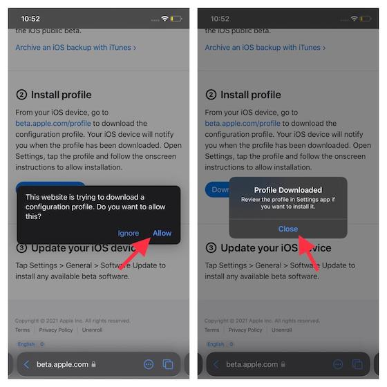 Se descargó el perfil beta de iOS 15