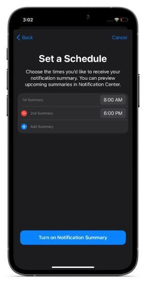 Benachrichtigungszusammenfassung planen 1 - Benachrichtigungszusammenfassung in iOS 15 auf dem iPhone aktivieren/deaktivieren
