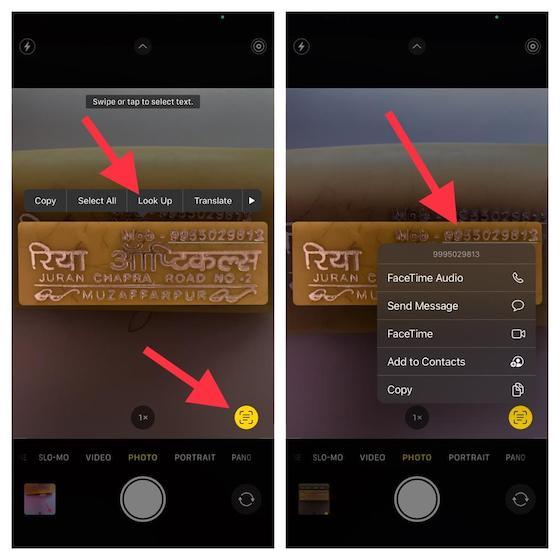 usar Live Text en la aplicación de la cámara