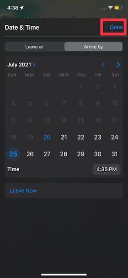 Cómo configurar los horarios de salida y llegada en Apple Maps