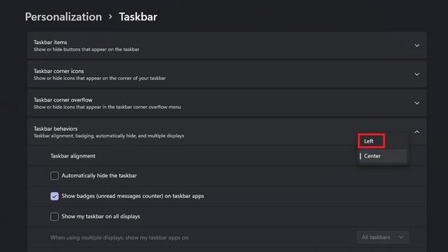 alineación de la barra de tareas izquierda