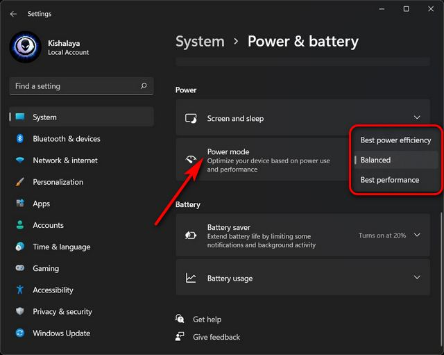 Cambiar la configuración del modo de energía en Windows 11
