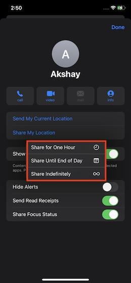 Elija cuánto tiempo desea compartir su ubicación en vivo: comparta su ubicación en vivo en iMessage en iPhone