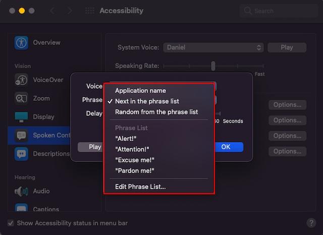 Editar frase en la función de alertas de anuncios en Mac