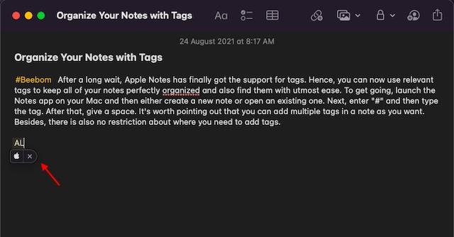 Ingrese el logotipo de Apple en Mac