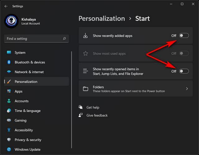 Eliminar la sección recomendada del menú de inicio de Windows 11