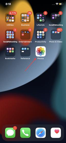 Abrir la aplicación Fotos en iPhone y iPad
