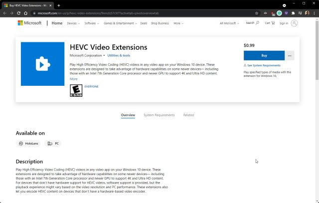 Instalar la extensión de video HEVC