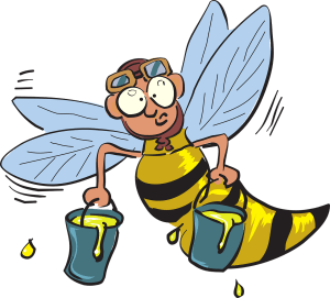 bee, flying, holding