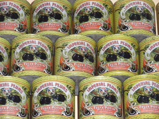 Cans of plums Musee du pruneau