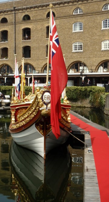 Gloriana The Queen's rowbarge at St Katharine's Dock