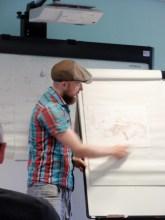 Alexis Deacon demonstrating a story idea