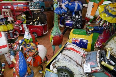 Tin garden ornaments Ideal home Show 2016