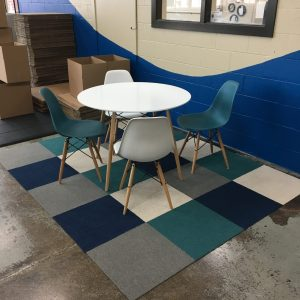 Wayfair Table and Chairs, FLOR carpet tiles