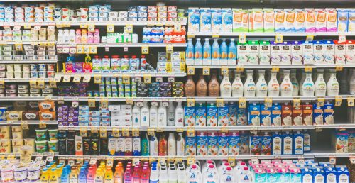 Grocery Store Shelves Full of Products