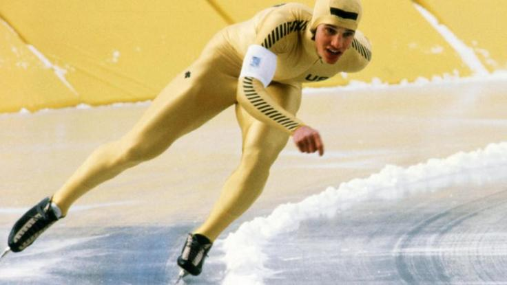 US speed skater Eric Heiden powers his way to a go