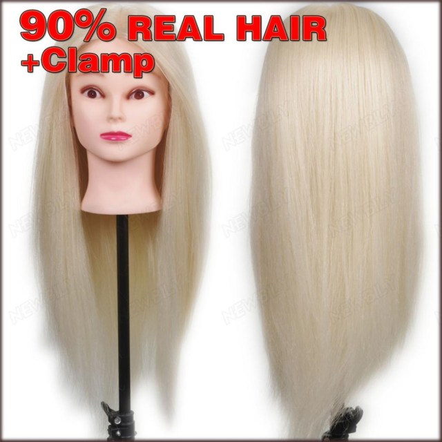 """new 24"""" 90% real human hair training head practice hairdressing mannequin cosmetology hair styling mannequins with free clamp"""