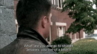 """Đây là bệnh của Cas, với những câu hỏi anh không muốn trả lời, hoặc không biết trả lời như thế nào thì anh sẽ biến mất ngay lập tức. Dean hỏi Cas anh phải làm gì, nhưng Cas đã biến mất - """"Bộ anh bị dị ứng với những câu trả lời thẳng thắn à? Đồ chết bằm!"""" *Bạn Dean sử dụng rất nhiều bad word (cả chửi thề lẫn chửi bậy =))), đặc biệt là từ SOB, nên mình phải dịch giảm dịch tránh một chút xíu~"""